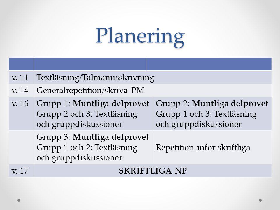 Planering v. 11Textläsning/Talmanusskrivning v. 14Generalrepetition/skriva PM v. 16Grupp 1: Muntliga delprovet Grupp 2 och 3: Textläsning och gruppdis