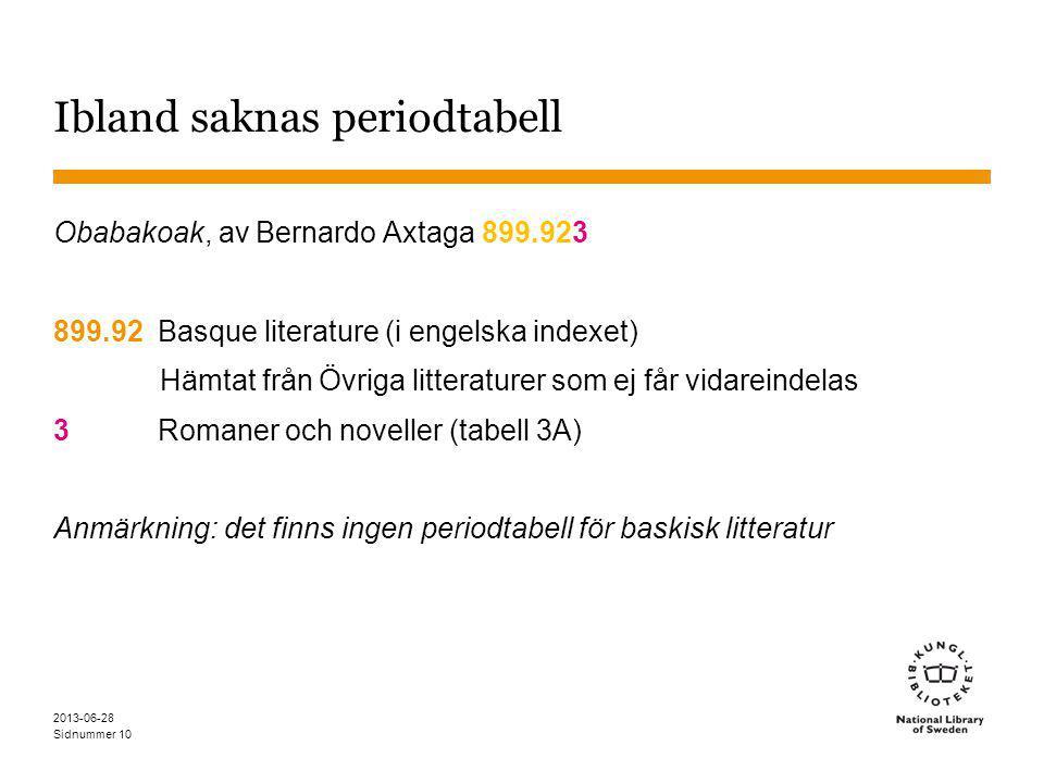 Sidnummer 2013-06-28 10 Ibland saknas periodtabell Obabakoak, av Bernardo Axtaga 899.923 899.92Basque literature (i engelska indexet) Hämtat från Övriga litteraturer som ej får vidareindelas 3Romaner och noveller (tabell 3A) Anmärkning: det finns ingen periodtabell för baskisk litteratur