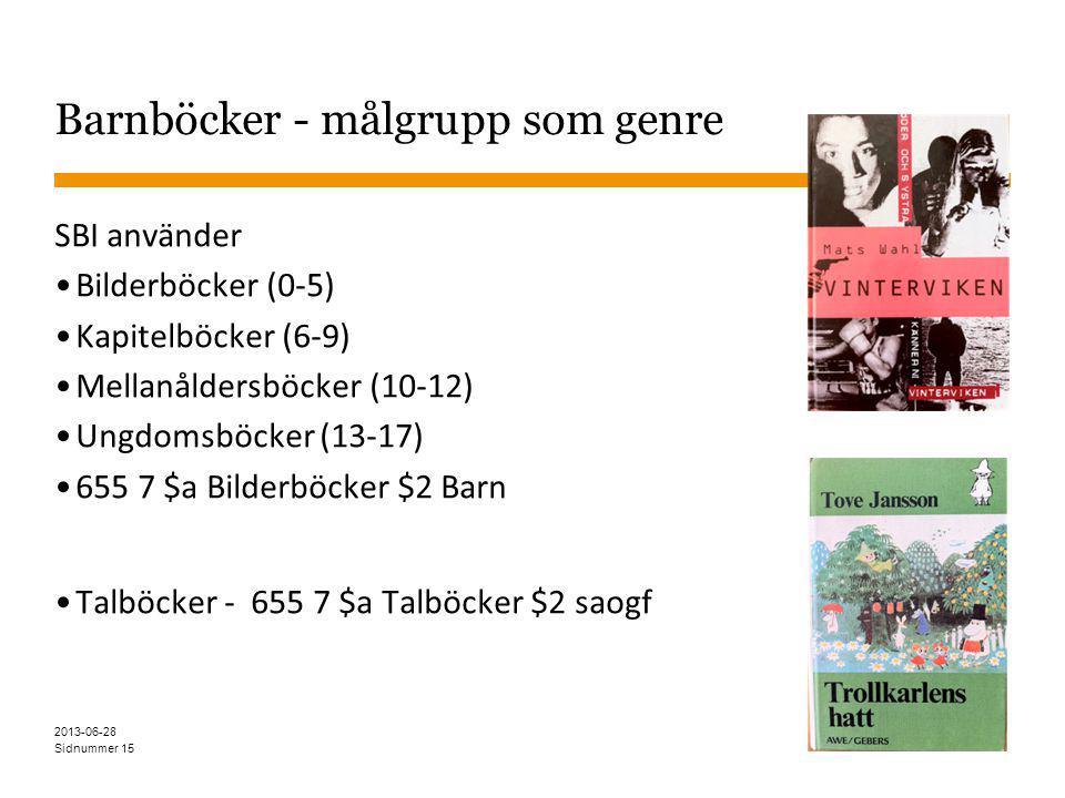 Sidnummer Barnböcker - målgrupp som genre SBI använder Bilderböcker (0-5) Kapitelböcker (6-9) Mellanåldersböcker (10-12) Ungdomsböcker (13-17) 655 7 $a Bilderböcker $2 Barn Talböcker - 655 7 $a Talböcker $2 saogf 15 2013-06-28