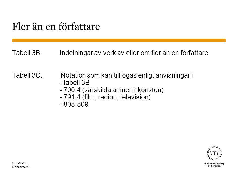Sidnummer 2013-06-28 16 Fler än en författare Tabell 3B.