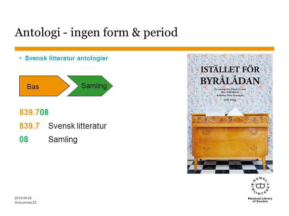 Sidnummer 2013-06-28 23 Antologi - ingen form & period Svensk litteratur antologier 839.708 839.7Svensk litteratur 08Samling Bas Samling