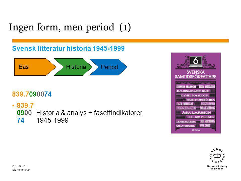Sidnummer 2013-06-28 24 Ingen form, men period (1) Svensk litteratur historia 1945-1999 839.7090074 839.7 0900Historia & analys + fasettindikatorer 741945-1999 Bas Period Historia