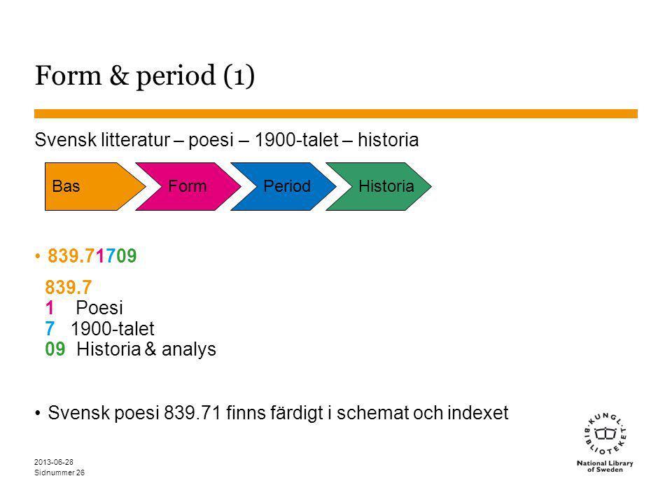 Sidnummer 2013-06-28 26 Form & period (1) Svensk litteratur – poesi – 1900-talet – historia 839.71709 839.7 1 Poesi 7 1900-talet 09 Historia & analys Svensk poesi 839.71 finns färdigt i schemat och indexet BasFormPeriodHistoria