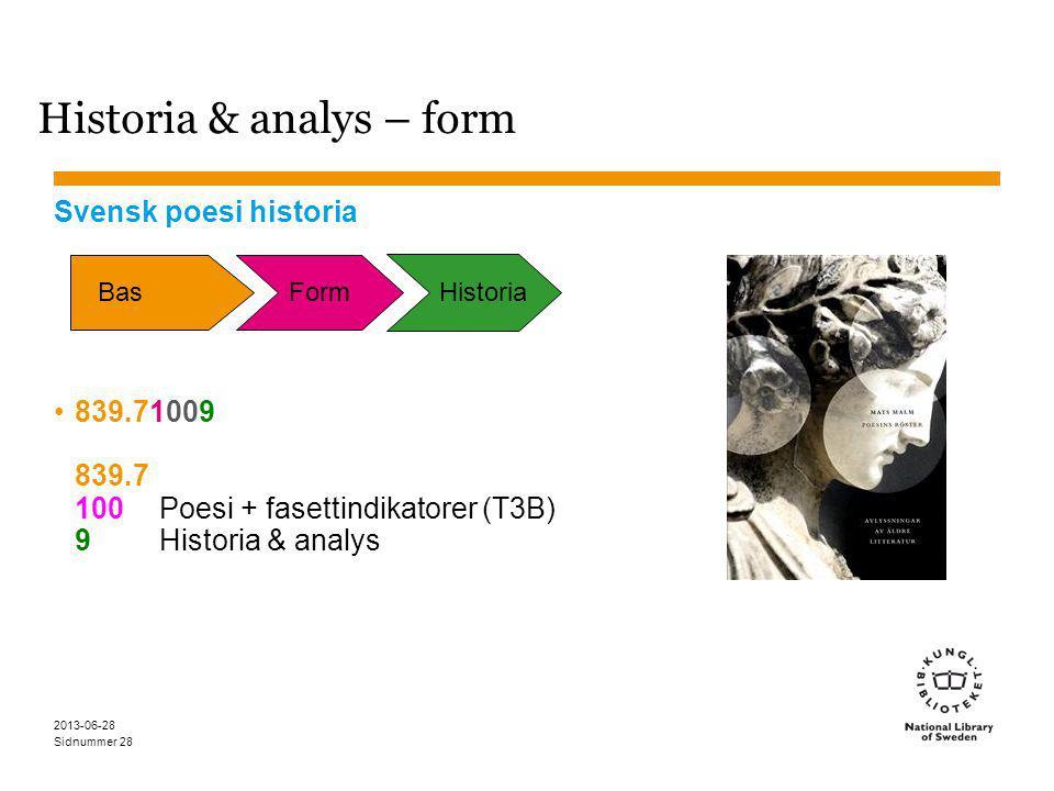 Sidnummer 2013-06-28 28 Historia & analys – form Svensk poesi historia 839.71009 839.7 100Poesi + fasettindikatorer (T3B) 9Historia & analys Bas Form Historia