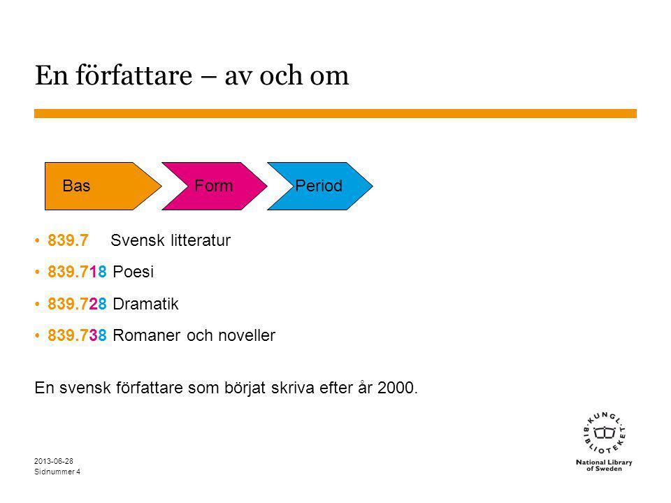 Sidnummer 2013-06-28 4 En författare – av och om 839.7 Svensk litteratur 839.718 Poesi 839.728 Dramatik 839.738 Romaner och noveller En svensk författare som börjat skriva efter år 2000.