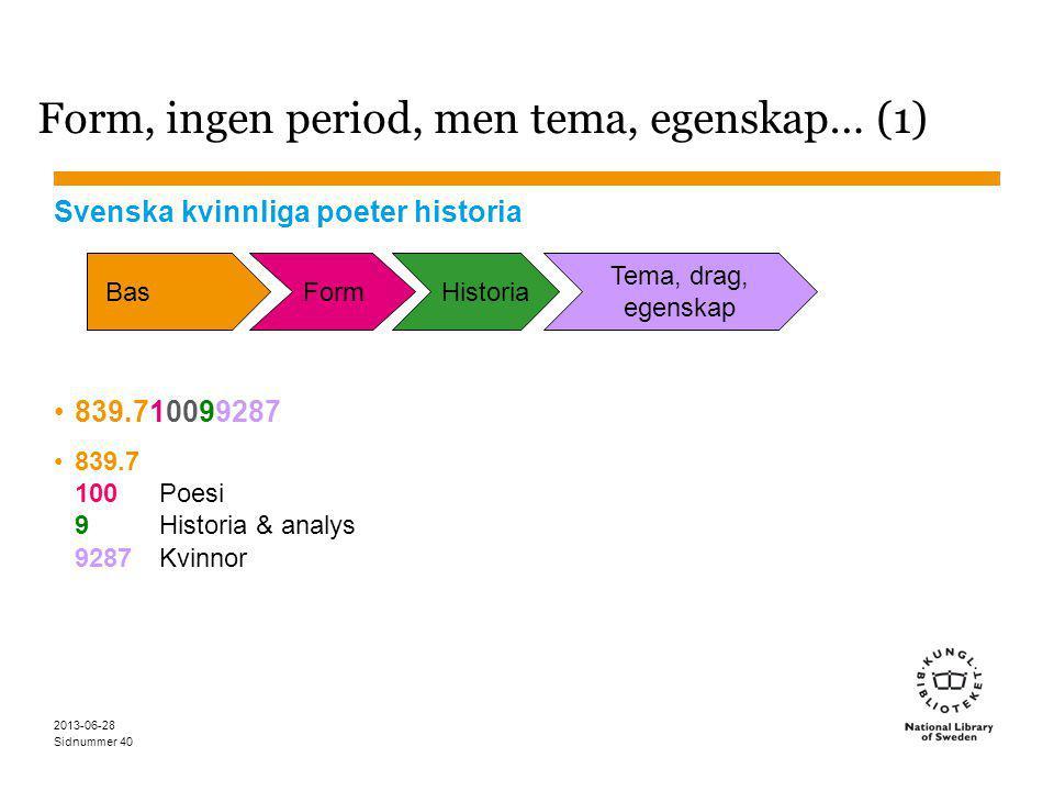 Sidnummer 2013-06-28 40 Form, ingen period, men tema, egenskap… (1) Svenska kvinnliga poeter historia 839.710099287 839.7 100Poesi 9Historia & analys 9287Kvinnor BasFormHistoria Tema, drag, egenskap