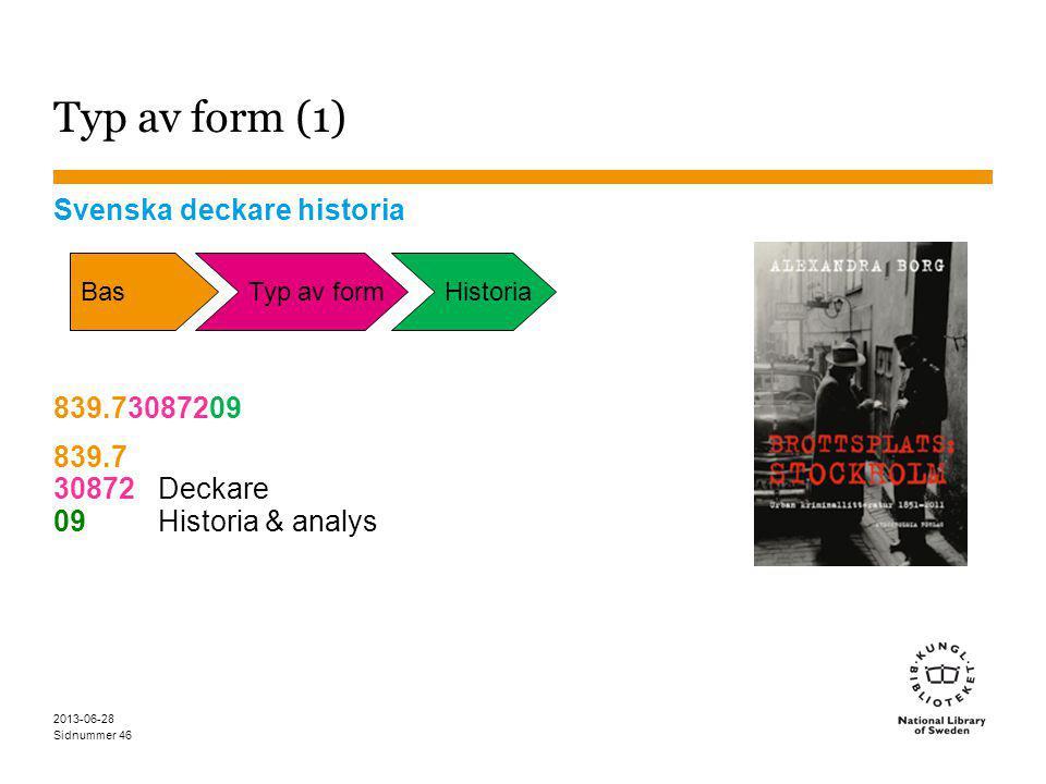 Sidnummer 2013-06-28 46 Typ av form (1) Svenska deckare historia 839.73087209 839.7 30872Deckare 09Historia & analys BasTyp av formHistoria