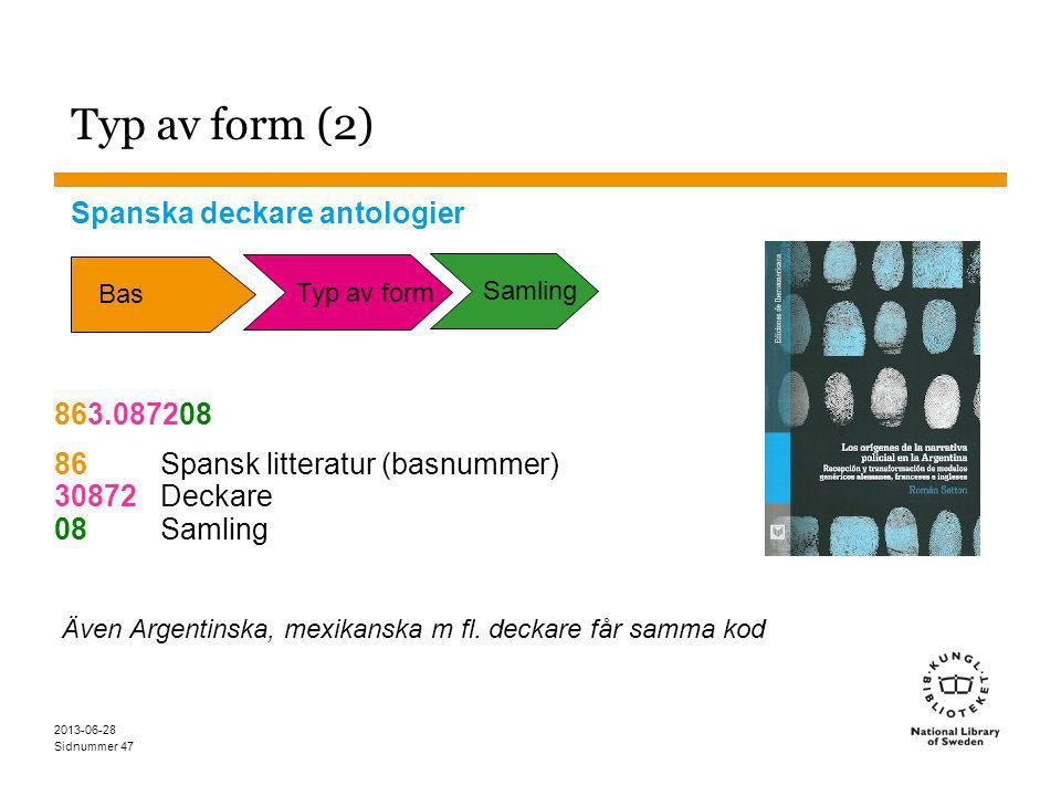 Sidnummer 2013-06-28 47 Typ av form (2) Spanska deckare antologier 863.087208 86Spansk litteratur (basnummer) 30872Deckare 08Samling Även Argentinska, mexikanska m fl.