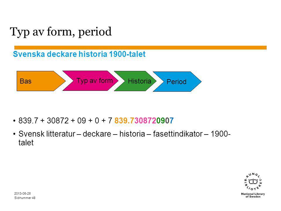 Sidnummer 2013-06-28 48 Typ av form, period Svenska deckare historia 1900-talet 839.7 + 30872 + 09 + 0 + 7 839.7308720907 Svensk litteratur – deckare – historia – fasettindikator – 1900- talet Bas Typ av form Historia Period