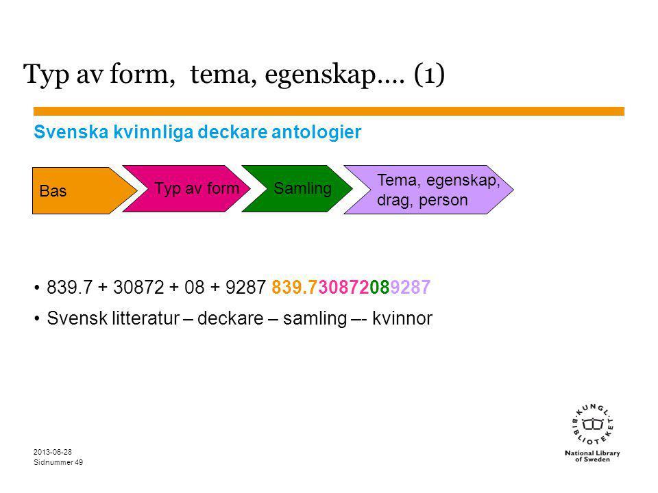 Sidnummer 2013-06-28 49 Typ av form, tema, egenskap….