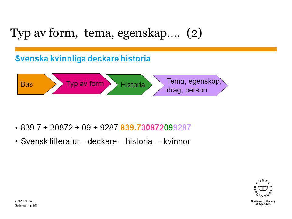 Sidnummer 2013-06-28 50 Typ av form, tema, egenskap….
