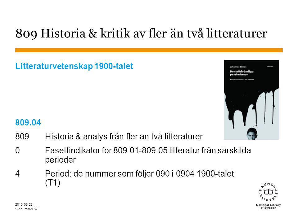 Sidnummer 2013-06-28 57 809 Historia & kritik av fler än två litteraturer Litteraturvetenskap 1900-talet 809.04 809 Historia & analys från fler än två litteraturer 0Fasettindikator för 809.01-809.05 litteratur från särskilda perioder 4 Period: de nummer som följer 090 i 0904 1900-talet (T1)