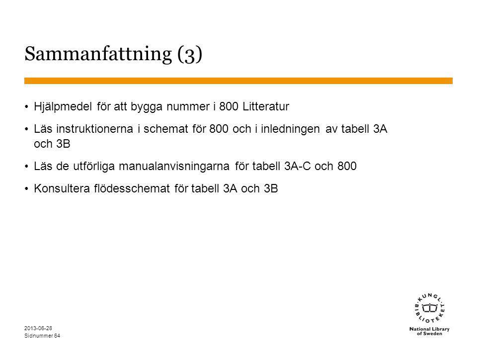 Sidnummer 2013-06-28 64 Sammanfattning (3) Hjälpmedel för att bygga nummer i 800 Litteratur Läs instruktionerna i schemat för 800 och i inledningen av tabell 3A och 3B Läs de utförliga manualanvisningarna för tabell 3A-C och 800 Konsultera flödesschemat för tabell 3A och 3B