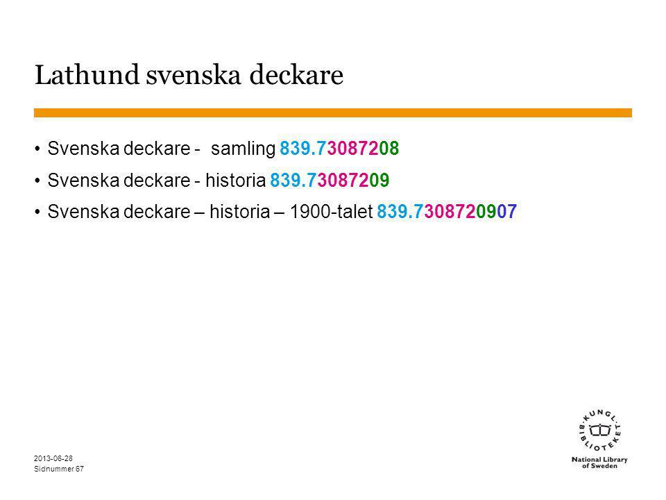 Sidnummer Lathund svenska deckare Svenska deckare - samling 839.73087208 Svenska deckare - historia 839.73087209 Svenska deckare – historia – 1900-talet 839.7308720907 2013-06-28 67