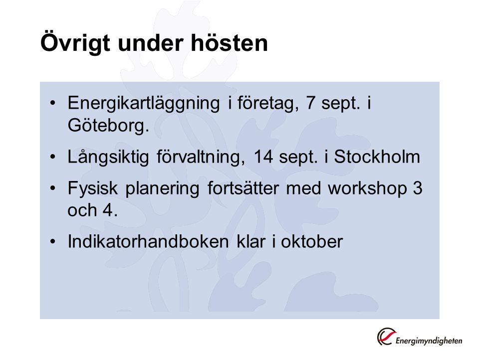 Övrigt under hösten Energikartläggning i företag, 7 sept.