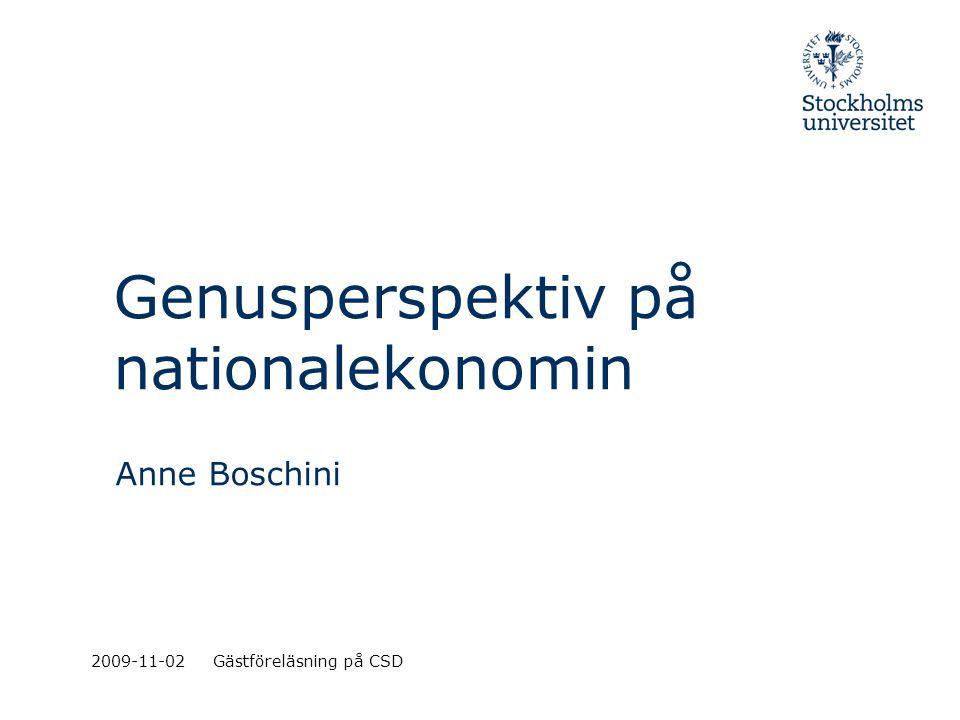 Nationalekonomin och genus Modern nationalekonomi –Annat än pengar bestämmer individers val –Strategisk interaktion.