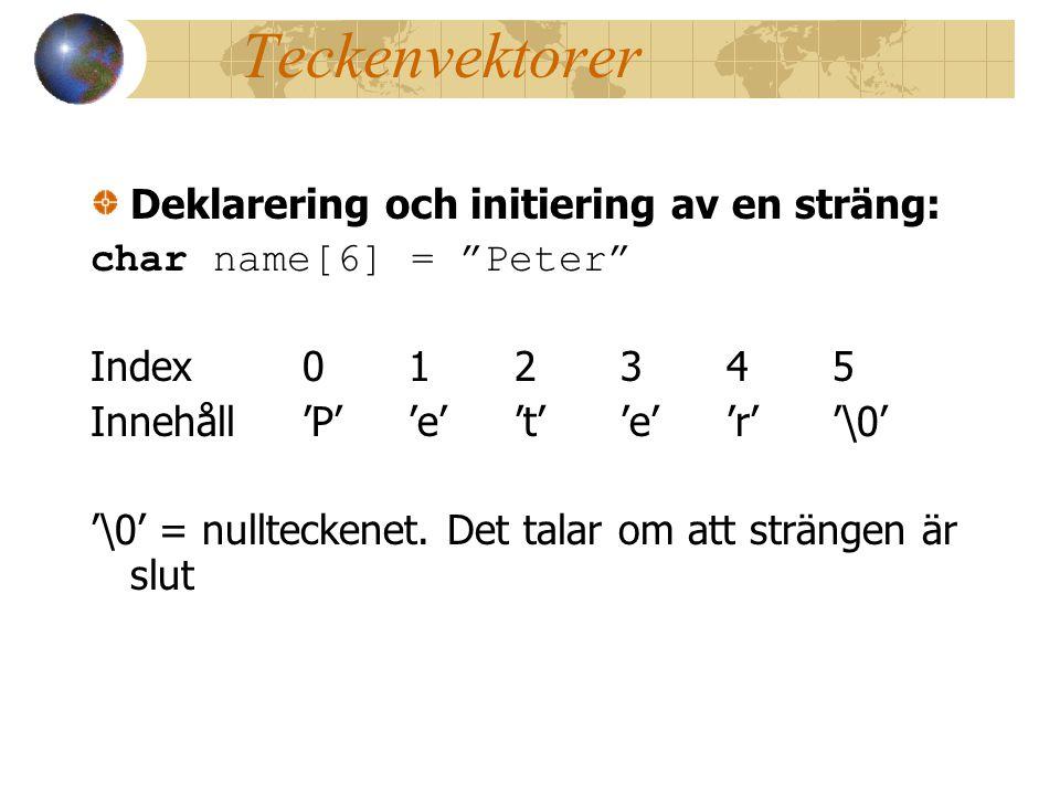 Teckenvektorer Deklarering och initiering av en sträng: char name[6] = Peter Index012345 Innehåll'P''e''t''e''r''\0' '\0' = nullteckenet.
