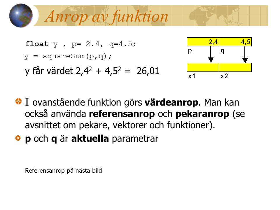 Anrop av funktion float y, p= 2.4, q=4.5; y = squareSum(p,q); y får värdet 2,4 2 + 4,5 2 = 26,01 I ovanstående funktion görs värdeanrop.