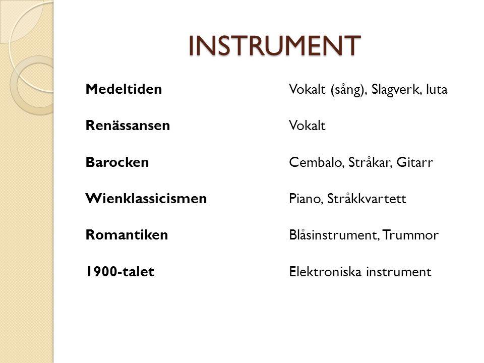 INSTRUMENT Medeltiden Renässansen Barocken Wienklassicismen Romantiken 1900-talet Vokalt (sång), Slagverk, luta Vokalt Cembalo, Stråkar, Gitarr Piano,