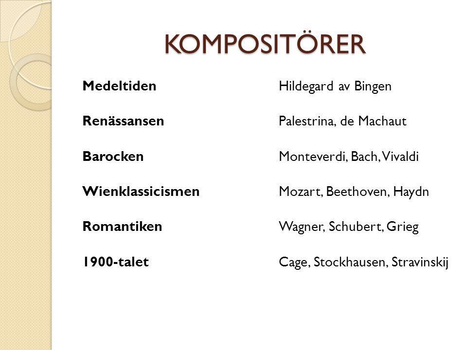 KOMPOSITÖRER Medeltiden Renässansen Barocken Wienklassicismen Romantiken 1900-talet Hildegard av Bingen Palestrina, de Machaut Monteverdi, Bach, Vival