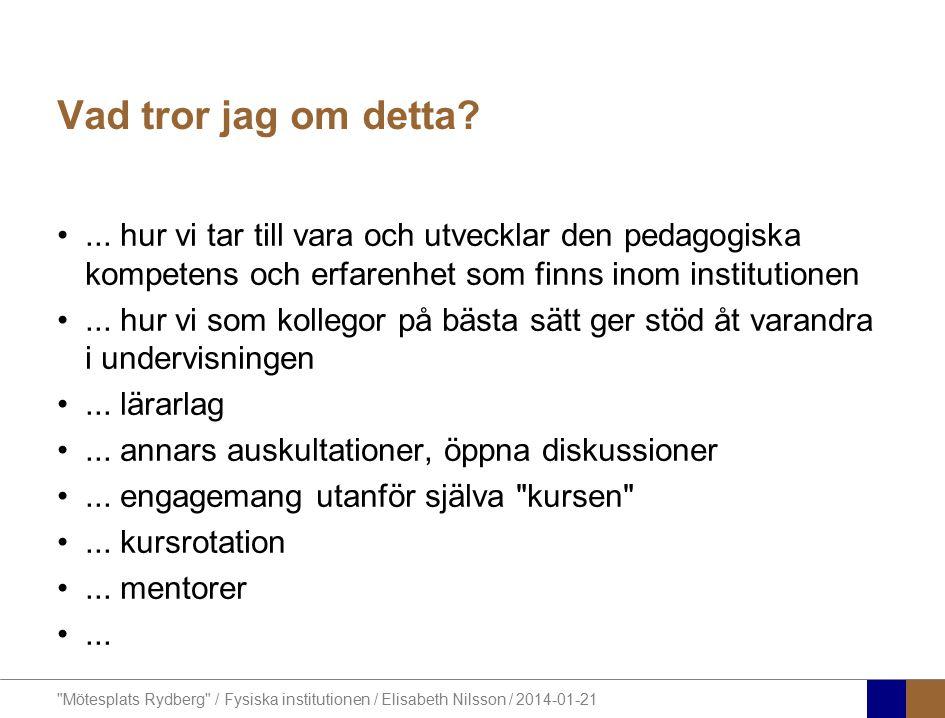 Mötesplats Rydberg / Fysiska institutionen / Elisabeth Nilsson / 2014-01-21 Vad tror jag om detta?...