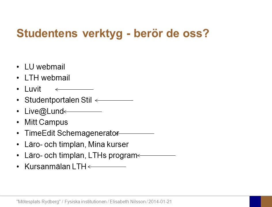 Mötesplats Rydberg / Fysiska institutionen / Elisabeth Nilsson / 2014-01-21 Studentens verktyg - berör de oss.