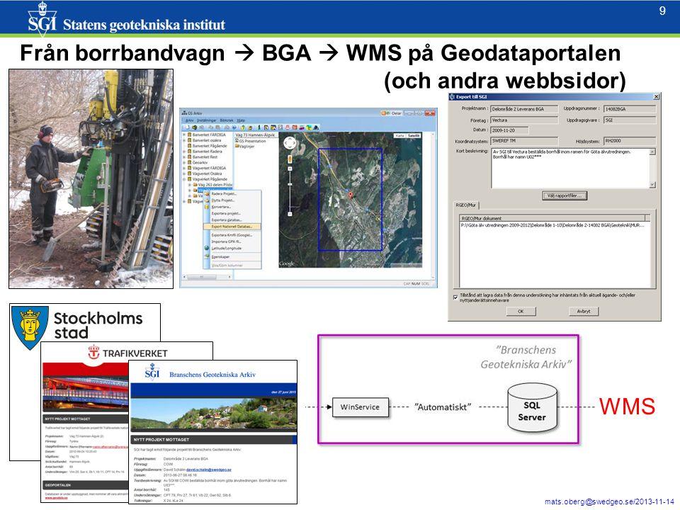 9 mats.oberg@swedgeo.se/2013-11-14 9 Från borrbandvagn  BGA  WMS på Geodataportalen (och andra webbsidor) WMS