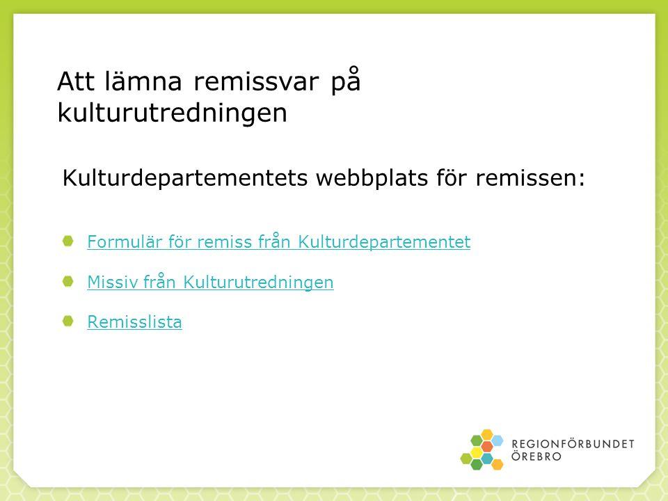Kulturdepartementets webbplats för remissen: Formulär för remiss från Kulturdepartementet Missiv från Kulturutredningen Remisslista Att lämna remissva
