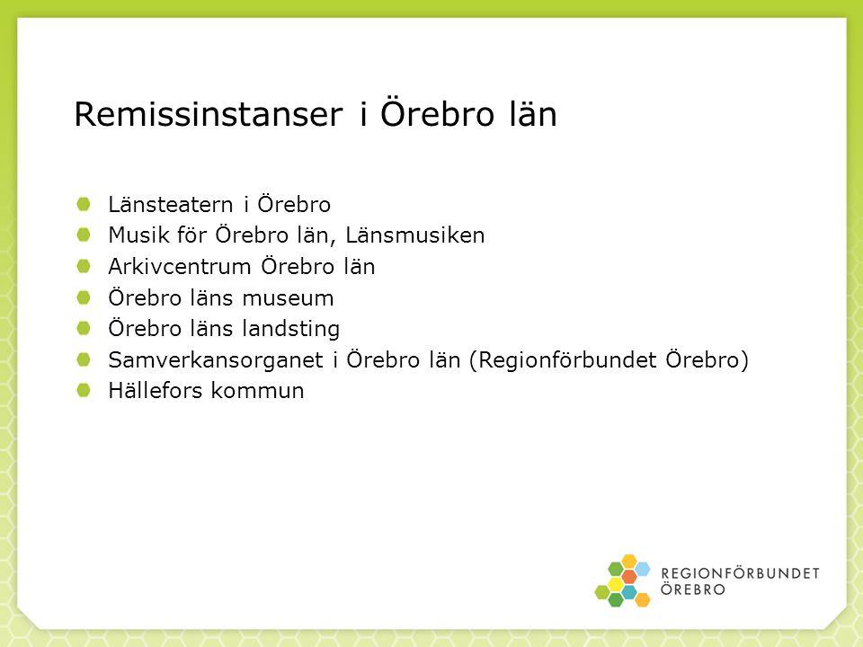 Remissinstanser i Örebro län Länsteatern i Örebro Musik för Örebro län, Länsmusiken Arkivcentrum Örebro län Örebro läns museum Örebro läns landsting S