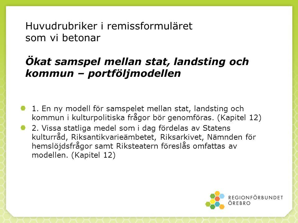 Huvudrubriker i remissformuläret som vi betonar Ökat samspel mellan stat, landsting och kommun – portföljmodellen 1. En ny modell för samspelet mellan
