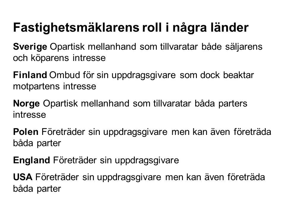 Fastighetsmäklarens roll i några länder Sverige Opartisk mellanhand som tillvaratar både säljarens och köparens intresse Finland Ombud för sin uppdrag