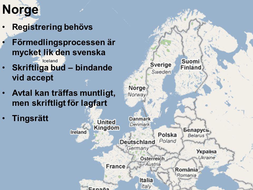Norge Registrering behövs Förmedlingsprocessen är mycket lik den svenska Skriftliga bud – bindande vid accept Avtal kan träffas muntligt, men skriftligt för lagfart Tingsrätt