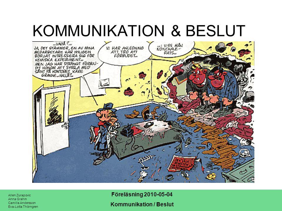 Allen Zurapovic Anna Grahm Camilla Andersson Eva-Lotta Thörngren Föreläsning 2010-05-04 Kommunikation / Beslut Tack för er uppmärksamhet!