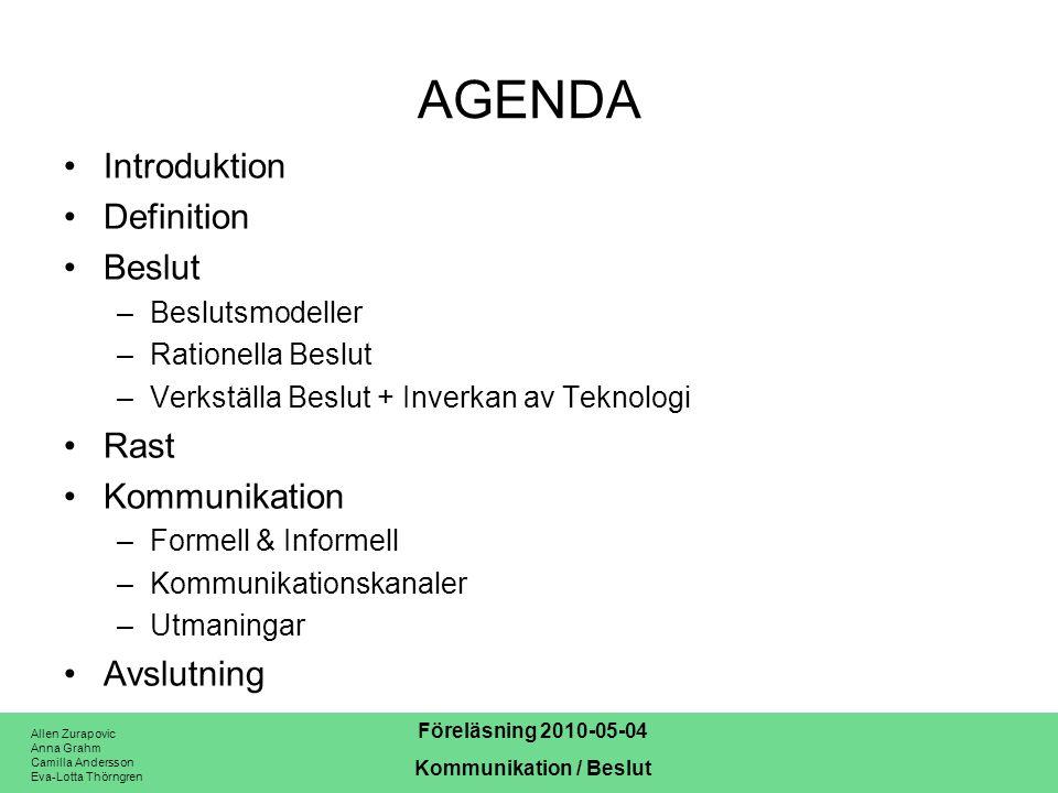 Allen Zurapovic Anna Grahm Camilla Andersson Eva-Lotta Thörngren Föreläsning 2010-05-04 Kommunikation / Beslut AGENDA Introduktion Definition Beslut –