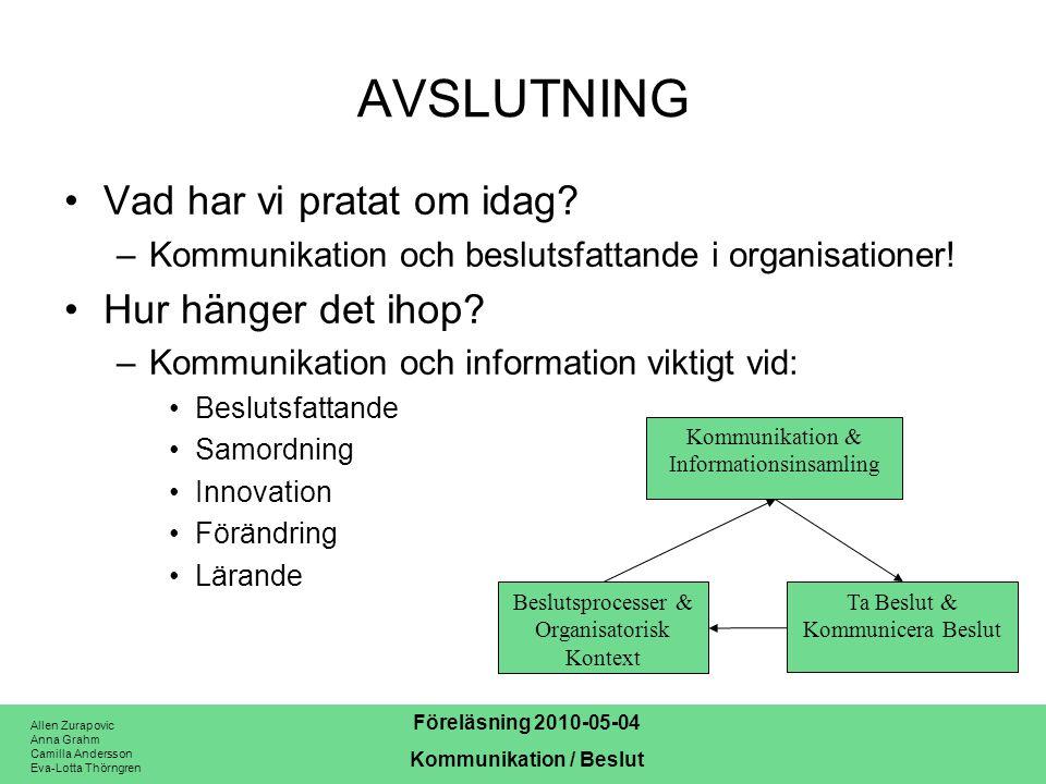 Allen Zurapovic Anna Grahm Camilla Andersson Eva-Lotta Thörngren Föreläsning 2010-05-04 Kommunikation / Beslut AVSLUTNING Vad har vi pratat om idag? –
