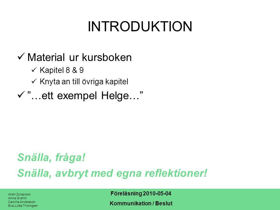 Allen Zurapovic Anna Grahm Camilla Andersson Eva-Lotta Thörngren Föreläsning 2010-05-04 Kommunikation / Beslut DEFINITION Enligt kursboken: –Kommunikation är …informationsöverföring… och …förmedling av idéer, attityder och känslor … –Beslut är ett val mellan olika alternativ, där valet innebär en förpliktelse till handling. Det finns bara två måsten i livet …