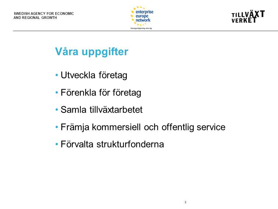 SWEDISH AGENCY FOR ECONOMIC AND REGIONAL GROWTH Våra uppgifter Utveckla företag Förenkla för företag Samla tillväxtarbetet Främja kommersiell och offentlig service Förvalta strukturfonderna 3