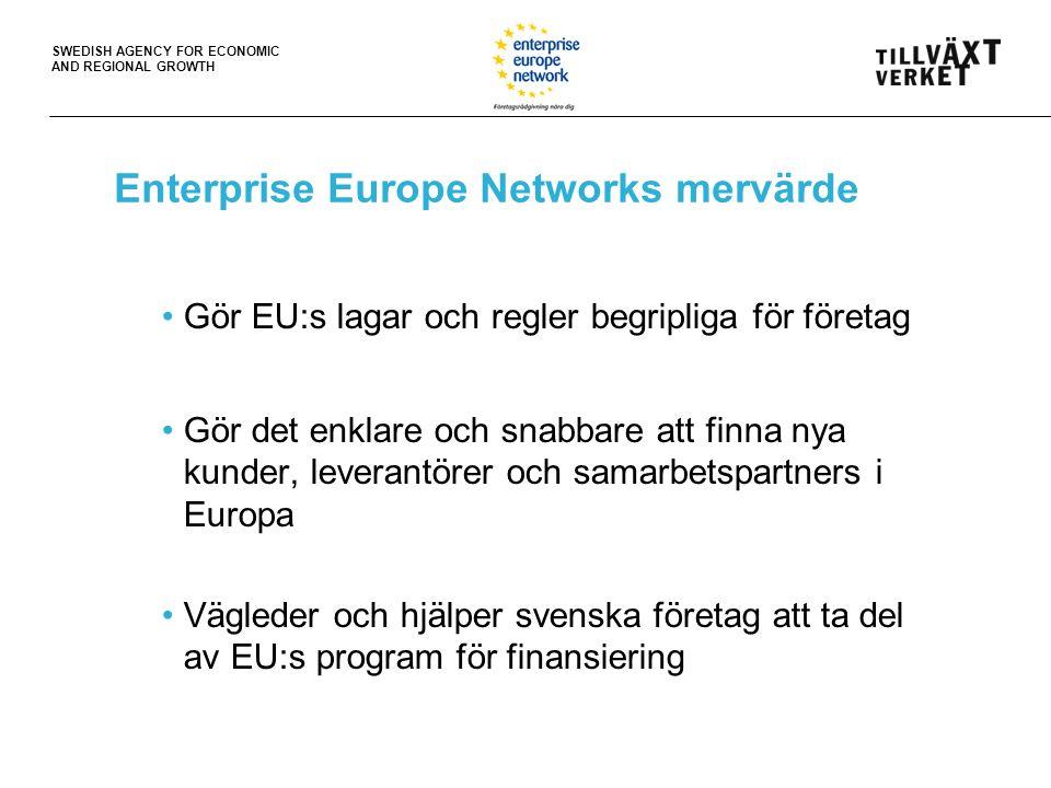 SWEDISH AGENCY FOR ECONOMIC AND REGIONAL GROWTH Enterprise Europe Networks mervärde Gör EU:s lagar och regler begripliga för företag Gör det enklare och snabbare att finna nya kunder, leverantörer och samarbetspartners i Europa Vägleder och hjälper svenska företag att ta del av EU:s program för finansiering
