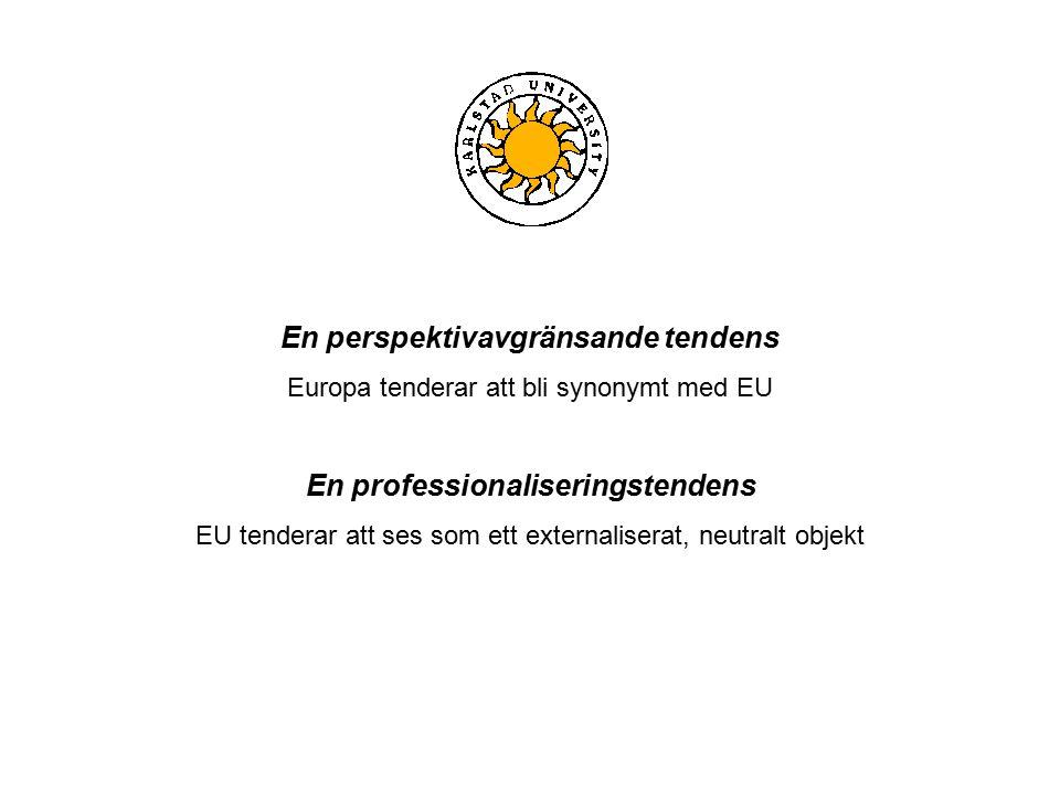 En perspektivavgränsande tendens Europa tenderar att bli synonymt med EU En professionaliseringstendens EU tenderar att ses som ett externaliserat, neutralt objekt