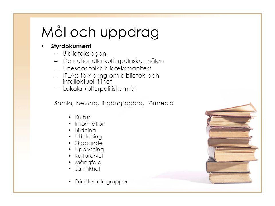 Mål och uppdrag Styrdokument –Bibliotekslagen –De nationella kulturpolitiska målen –Unescos folkbiblioteksmanifest –IFLA:s förklaring om bibliotek och