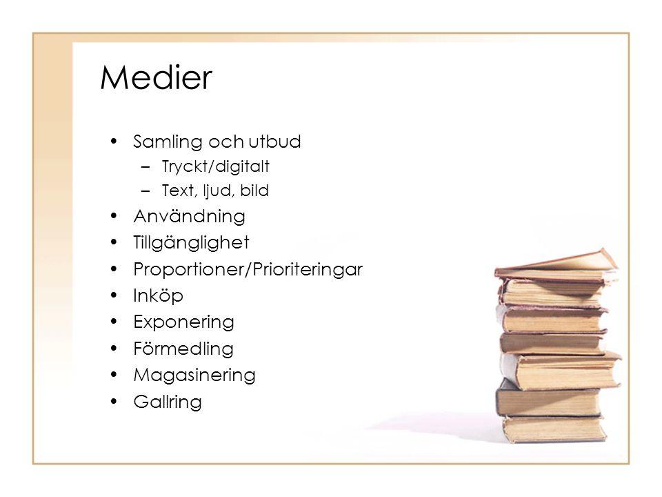 Medier Samling och utbud –Tryckt/digitalt –Text, ljud, bild Användning Tillgänglighet Proportioner/Prioriteringar Inköp Exponering Förmedling Magasinering Gallring