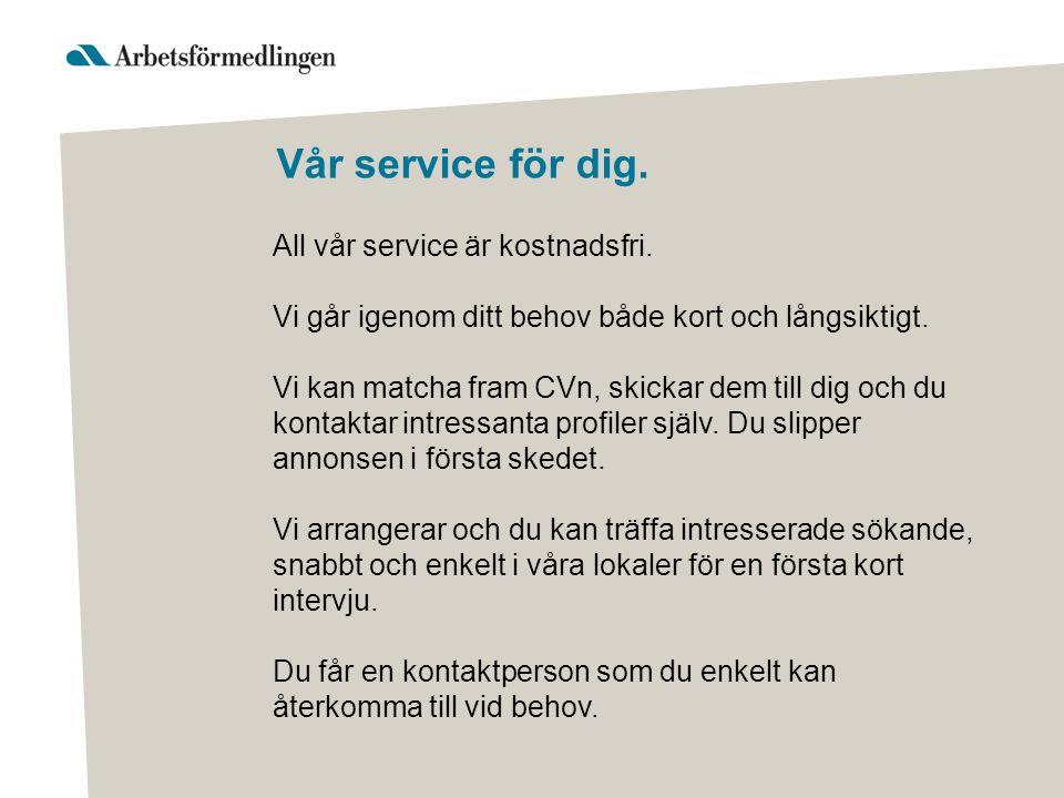 Vår service för dig. All vår service är kostnadsfri. Vi går igenom ditt behov både kort och långsiktigt. Vi kan matcha fram CVn, skickar dem till dig
