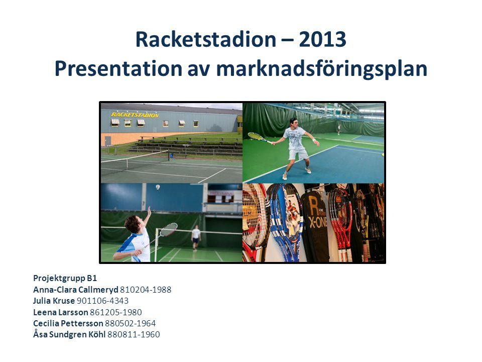 Racketstadion – 2013 Presentation av marknadsföringsplan Projektgrupp B1 Anna-Clara Callmeryd 810204-1988 Julia Kruse 901106-4343 Leena Larsson 861205-1980 Cecilia Pettersson 880502-1964 Åsa Sundgren Köhl 880811-1960