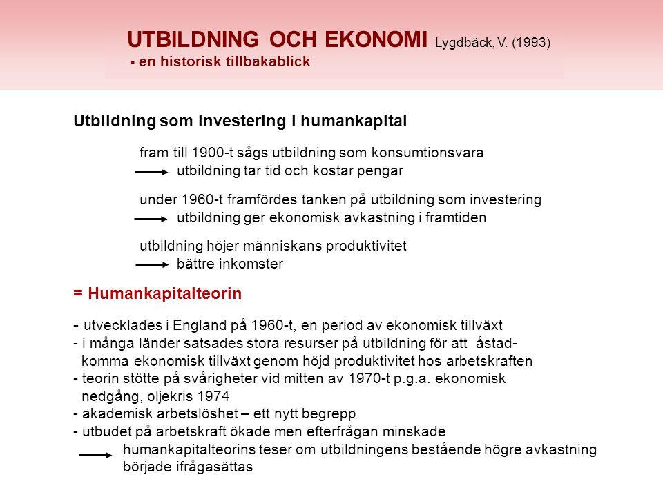 UTBILDNING OCH EKONOMI Lygdbäck, V.