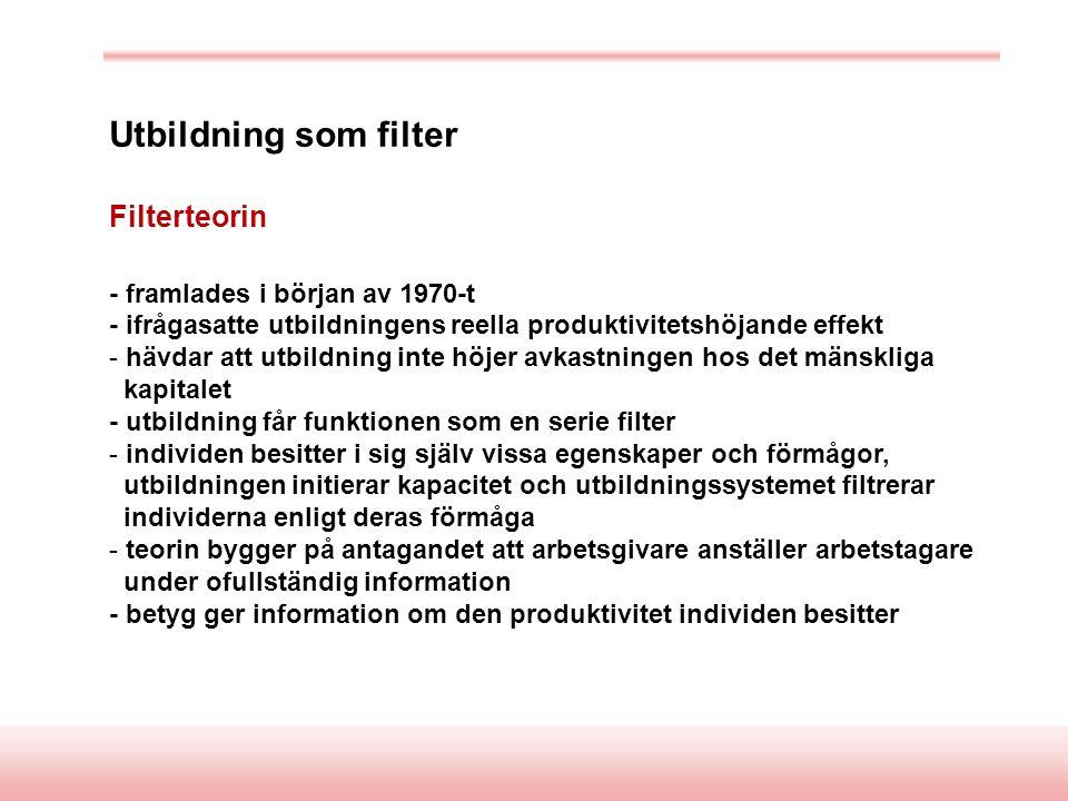 Utbildning som filter Filterteorin - framlades i början av 1970-t - ifrågasatte utbildningens reella produktivitetshöjande effekt - hävdar att utbildning inte höjer avkastningen hos det mänskliga kapitalet - utbildning får funktionen som en serie filter - individen besitter i sig själv vissa egenskaper och förmågor, utbildningen initierar kapacitet och utbildningssystemet filtrerar individerna enligt deras förmåga - teorin bygger på antagandet att arbetsgivare anställer arbetstagare under ofullständig information - betyg ger information om den produktivitet individen besitter