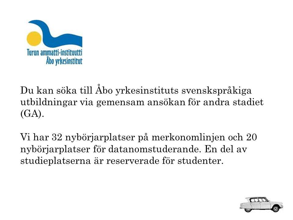 Du kan söka till Åbo yrkesinstituts svenskspråkiga utbildningar via gemensam ansökan för andra stadiet (GA).