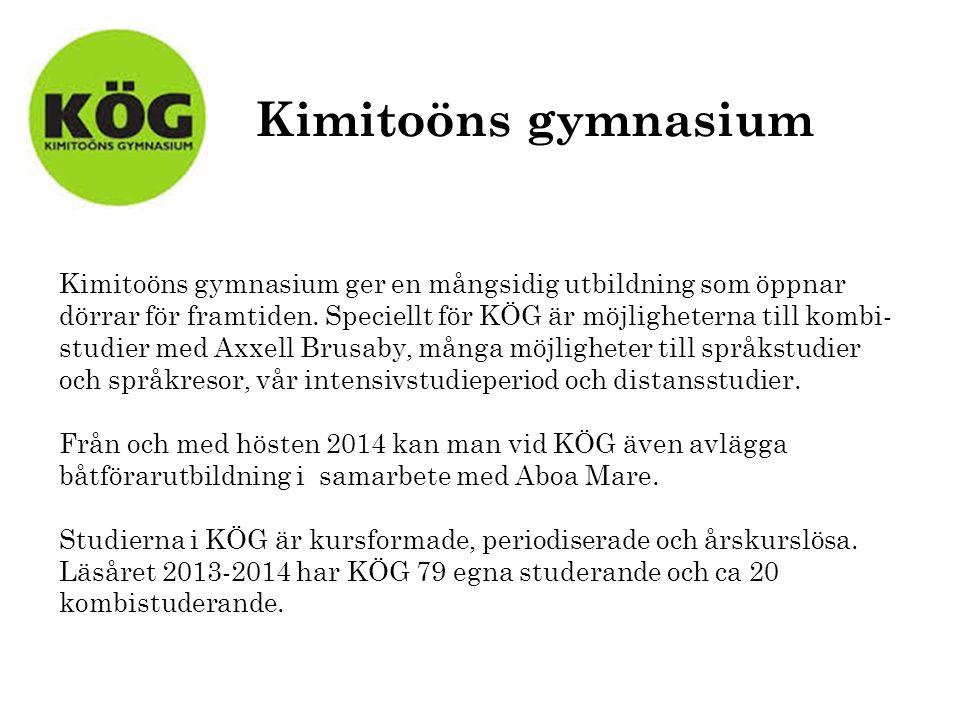 Kimitoöns gymnasium Kimitoöns gymnasium ger en mångsidig utbildning som öppnar dörrar för framtiden.