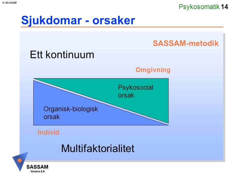 Psykosomatik 14 SASSAM Version 1.1 © SASSAM SASSAM Version 2.0 Sjukdomar - orsaker Multifaktorialitet Ett kontinuum Organisk-biologisk orsak Psykosoci