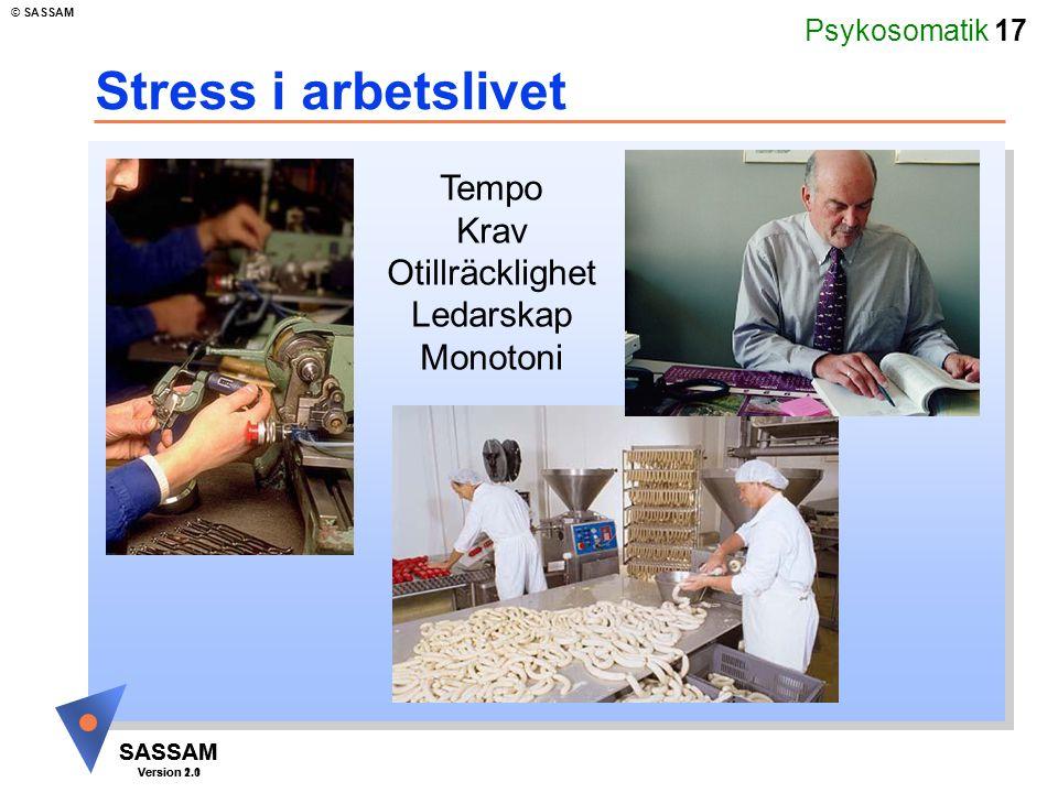 Psykosomatik 17 SASSAM Version 1.1 © SASSAM SASSAM Version 2.0 Stress i arbetslivet Tempo Krav Otillräcklighet Ledarskap Monotoni