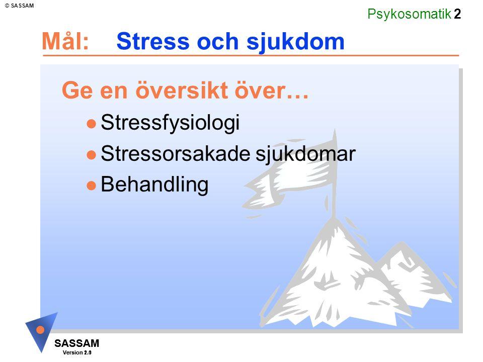 Psykosomatik 2 SASSAM Version 1.1 © SASSAM SASSAM Version 2.0 Mål: Stress och sjukdom Ge en översikt över… l Stressfysiologi l Stressorsakade sjukdoma